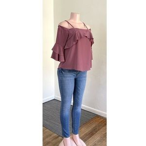 Pink ruffled off shoulder with bell sleeve top